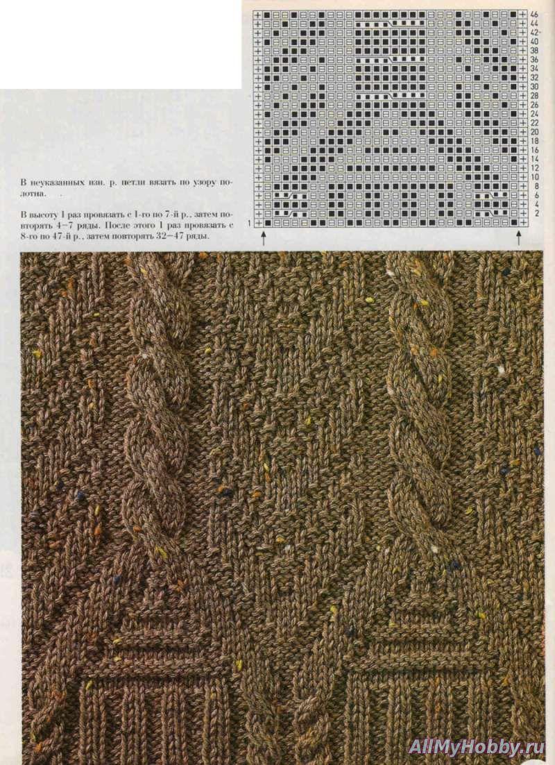 Вязание спицами кайма из кос 63