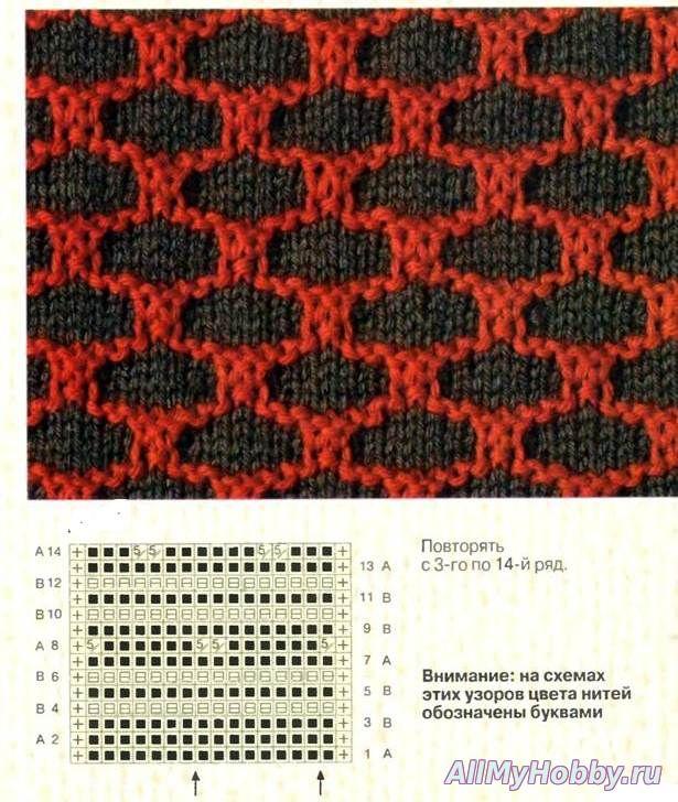 Ленивые узоры два цвета вязание спицами схемы 100